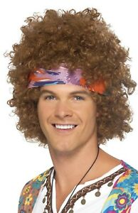 Mens Ladies Brown Hippy Afro Wig Headscarf Necklace 60s 70s Fancy Dress Kit