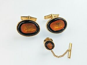 Lovely Vintage Jewellery cuff links and tie pin set Art Glass Stones