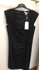 Women's stretch black Hugo Boss dress with ruffle cap sleeve in size 6