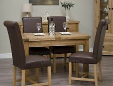 Regent solid oak furniture extending dining table and four leather chairs set
