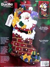 "Bucilla  Santa ""DOWN THE CHIMNEY"" Felt Christmas Stocking Kit Factory Direct OOP"