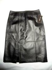 111 STATE Long Black DK Coal Leather Skirt Slit Biker Buisness Sleek Sz 6 New