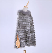 Women's Pullover Knitted Real Rabbit Fur Raccoon Fur Trim Poncho Cape Shawl Wrap