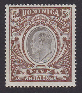 Dominica. SG 36, 5/- black & brown. Fine mounted mint.