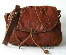 Rare Lucky Brand Distressed Contrast Whipstitch Brown Italian Leather Bag Purse!