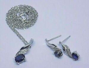 9CT WHITE GOLD SAPPHIRE & DIAMOND PENDANT NECKLACE w/ MATCHING EARRINGS SET.