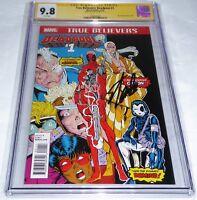 True Believers Deadpool #1 CGC SS 9.8 Signature STAN LEE Reprint New Mutants #98