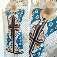 TENKI 💋 UK 16 Russian Doll Style Floral Panel Shift Dress ~Free Postage~