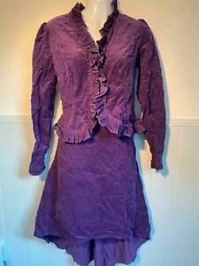 KIT Women's Purple Corduroy 2 Frilled Piece Blouse / Asymmetric Skirt UK 12 EU38