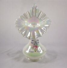 FENTON ART WHITE GLASS IRIDIZED TULIP JACK IN THE PULPIT VASE PAINTED SIGNED