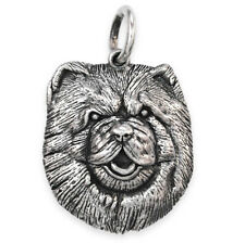 More details for solid sterling silver chow chow dog pendant (handmade uk, also in gold)