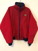 LL Bean Womens Warm Up Jacket Vintage Size M USA Made Coat Full Zip Lined Red