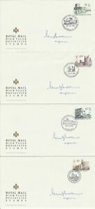 18 OCT 1988 ALL 4 HIGH VALUE DEFINITIVES on 4 SIGNED RM FDCs DIFFERENT SHS