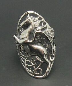 Echter Sterling Silber Ring Einhorn massiv punziert 925 Handarbeit