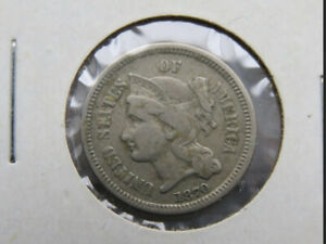 Antique  Rare  1870 Three Cent Nickel
