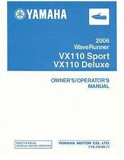 Yamaha Owners Manual Book WaveRunner 2006 VX110 SPORT &  VX110 DELUXE