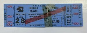 Buffalo Braves - Los Angeles Lakers 1974 NBA ticket stub Memorial Auditorium Aud