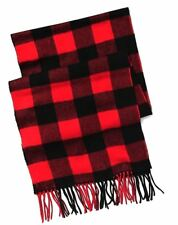 NWT Men's Old Navy Red Patterned Buffalo Check Plaid Scarf with Fringe One Size