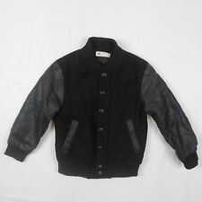 H&M Bomber Faux Leather Wool Blend Jacket Black Baseball Size 4-5 y