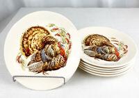 "Pottery Barn Set of 6 Thanksgiving Watercolor Turkey Salad Dessert Plates 8.1/2"""