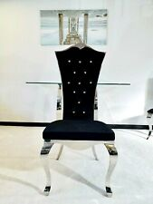 ROYAL ITALIAN STYLE DINING CHAIR ( BLACK VELVET )
