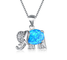NEW 925 Silver Jewelry Elephant Blue Fire Opal Charm Pendant Necklace Chain !!!