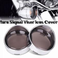2pcs Chrome Turn Signal Visor Ring Kit Smoked Lens Cover For Harley XL883 XL1200