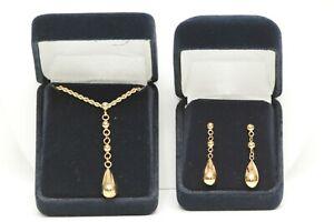 The Danbury Mint Drop Of Gold 14K Teardrop Pendant Necklace Dangle Earrings Set