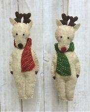 Christmas Ornament Felt Embroidery Kit, Reindeer Rudolph + Friend Sewing DIY