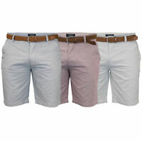 Mens Cotton Oxford Chino Shorts Threadbare Belted Pants Knee Length Summer New