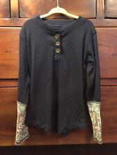 Jak & Peppar Navy Bean Classic Henley Long Sleeve Shirt Girl's 6X EUC