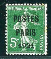 "FRANCE TIMBRE PREOBLITERE 26 "" SEMEUSE 5c VERT POSTES PARIS 1921"" NEUF(x) A VOIR"