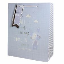 Gift Bag with Tag - 26.5x21cm New Baby - Blue with Bunny
