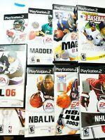PS2 SPORTS GAMES LOT OF 9 NBA Live Madden Baseball NHL Playstation Bundle