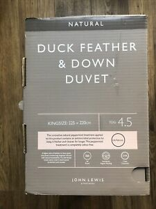 Brand New Bagged And Boxed John Lewis Natural Duck Down Duvet 4.5Tog King Size