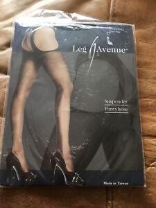 SEXY LEG  AVENUE PLUS SIZE BLACK SUSPENDER PANTY HOSE NEW SEALED