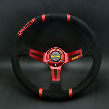 350mm Suede Leather Deep Dish Drifting Steering Wheel For MOMO Hub OMP Race Red