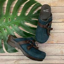 Dansko Shandi Croc Backless Clogs Size 39 8 Navy Blue Leather Tassels Comfort