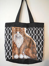 Cat Tote Bag Pocket NEW Quilted Cotton USA Made Purse Shoulder Black Vintage