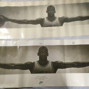 Poster Wings Jordan Michael Nike Original Print Vtg Wall 23x 72  21x 62 Lot Of 2