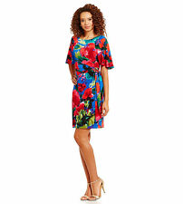 Tahari ASL Wear to Work Multi-Color Floral-Print Faux Wrap Dress Sz 8