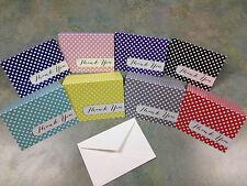 POLKA DOT THANK YOU CARDS - cute blank inside wedding shower baby birthday cards