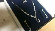 White gold finish pearcut sapphire and created diamond necklace earrings ring L