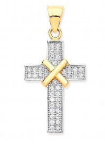 9CT HALLMARKED YELLOW GOLD PAVE SET CROSS WITH KISS DETAILING CHAIN OPTIONAL
