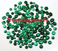 150CT WHOLESALE LOT 100%NATURAL GREEN MALACHITE CALIBRATED MIX CABOCHON GEMSTONE