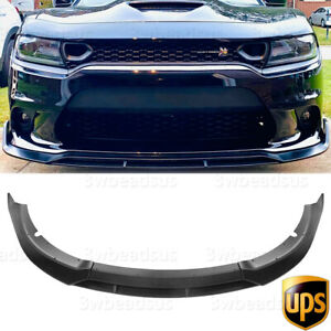 Fits For 15-20 Dodge Charger SRT Track Style Front Bumper Lip Unpainted - PP US