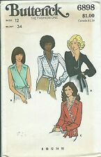 B 6898 sewing pattern 70's Wrapped BLOUSE Top Shirt sew retro chic UNCUT size 12