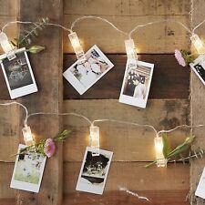 LED Foto-Leine / Lichter-Kette mit 20 Leucht-Klammern - Länge 2 Meter