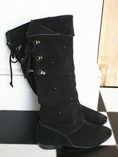 Vintage black real suade leather Bryza 70's 80's laced up fur lined boots 37-38