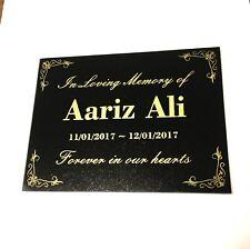 Grave Marker Memorial Customised Engraved Black Granite 200x150mm